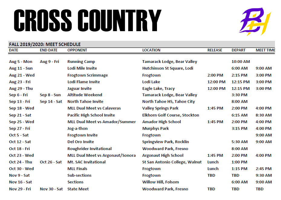 2019 Cross Country Schedule